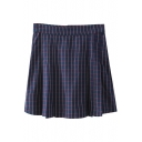 Navy Plaid Print High Waist Zippered Back Skirt