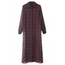 Plaid Print Lapel Single-Breast Split Hem Chiffon Max Dress