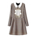 Apricot Background Court Embroidered Style Geometric Pattern Lapel Long Sleeve Babydoll Dress