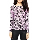 Light Purple Leopard Print Round Neck Long Sleeve Fitted Sweater