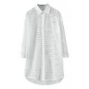 Plain Mesh Cutout Style Long Sleeve Longline High-low Hem Shirt