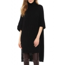 Boyfriend Style High Collar Black Chunky Knitted Column Midi Dress with Step Hem