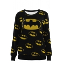 Batman Print Round Neck Sweatshirt with Long Sleeve