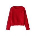 Plain Chunky Knit and 3D Pedal Applique Long Sleeve Cropped Sweater with Draped Hem