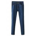 Dark Wash Mid Rise Fitted Pencil Jeans with Two Buttons Fly