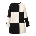 Check Print Round Neck Double Breast Woolen Coat