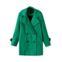 Plain Notched Lapel Double-Breasted Woolen Coat With Double Pocket Front