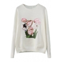 Tulip Embroidered and Print Knitted Sweater with Round Neck