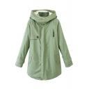 Plain Green Hooded Sherpa Inside Drawstring Zipper Parka Coat
