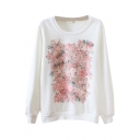 Round Neck Pink Rose Print Long Sleeve Sweatshirt