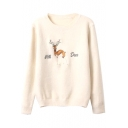 Deer Letter Embroidered Round Neck Long Sleeve Loose Sweater