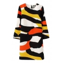Colorful Graffiti Round Neck 3/4 Sleeve Zipper Fly Back Dress