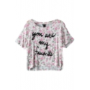 Floral and Letter Print Round Neck Crop Tee with Dip Hem