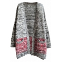 Gray Color Block Pockets Open Front V-Neck Long Sleeve Tunic Cardigan