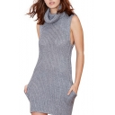 High Neck Sleeveless Knitted Bodycon Dress with Pocket Front