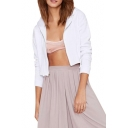 Pure White Zip Fly Cropped Hooded Top with Drawstring