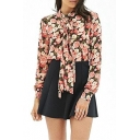 Rose Floral Print Belted Collar Curved Hem Cutout Back Chiffon Blouse