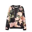 Pink Floral Plant Print Round Neck Long Sleeve Sweatshirt