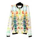 Floral Print Stand-Up Collar Zippered Pockets Long Sleeve Jacket