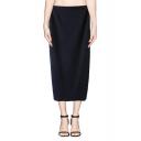 Sexy Plain Elastic Waist Split Back Hem Midi Skirt