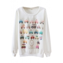 Round Neck Cartoon Car Print Long Sleeve Sweatshirt