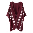 Stripe Jacquard V-Neck Single Button Poncho in Loose Fit