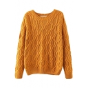 Vintage Plain Round Neck Cable Knit Long Sleeve Sweater