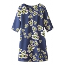 Blue Background White Floral Print Round Neck 1/2 Sleeve Dress with Zip Back