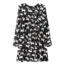 Cat Print Long Sleeve Round Neck Loose Dress with Ruched Detail