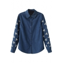 Blue Floral Embroidered Lapel Single-Breast Denim Blouse