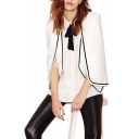 White Open Front Cloak with Contrast Trims and Shoulder Pad Details