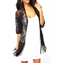 Black Lace Floral Pattern 1/2 Sleeve Kimono with Fringe Hem
