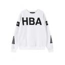 HBA&Circle Symbol Print Round Neck Long Sleeve Sweatshirt
