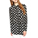 Polka Dot Print Lapel Button Front Long Sleeve Fitted Blouse