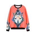 Orange Background 3D Deer Head Print Round Neck Sweatshirt