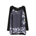 Leaves and Flower Print Round Neck Long Sleeve Knitted Sweater