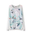 Bird and Tree Print Round Neck Knitted Sweater with Raglan Sleeve