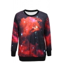 Starry Sky Print Round Neck Long Sleeve Sweatshirt