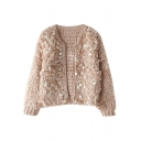 Plain Opulent Sequin&Circle Embellished Long Sleeve Crochet Cardigan with Round Neckline