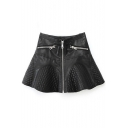 Plain Leather A-Line Ruffle Hem Skirt with Zipper Details