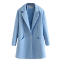 Plain Relaxed Fitted Notched Lapel Collar Single Breast Pockets Woolen Coat