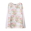 Beige Floral Plants Print Round Neck Long Sleeve Sweater