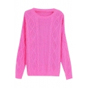 Plain Cable Diamond Knit Round Neck Long Sleeve Sweater