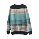 Color Block Stripe Print Round Neck Long Sleeve Sweater