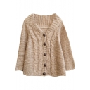 Beige Cropped Cape Style Button Fly Mohair Cardigan