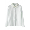 Wave Embroidered Lapel Single Breast Long Sleeve Blouse