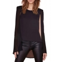 Black Chiffon Round Neck Plain Two Piece In One Blouse