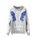 Totem Pattern Long Sleeve Sweater with Round Neckline
