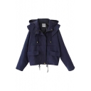 Plain Hooded Drawstring Zipper Fly Military Jacket
