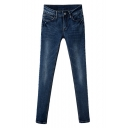 Dark Wash Stretch Denim Pencil Jeans with Button Fly